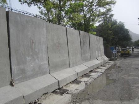 Betongblock utanför en FN-kompound, Kabul 2010